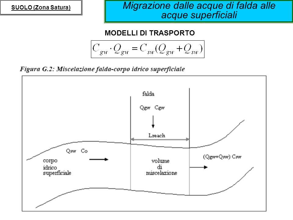 Migrazione dalle acque di falda alle acque superficiali SUOLO (Zona Satura) MODELLI DI TRASPORTO