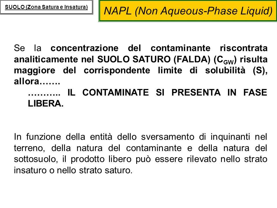 NAPL (Non Aqueous-Phase Liquid) SUOLO (Zona Satura e Insatura) Se la concentrazione del contaminante riscontrata analiticamente nel SUOLO SATURO (FALD