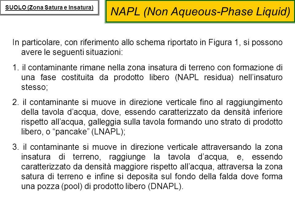 NAPL (Non Aqueous-Phase Liquid) SUOLO (Zona Satura e Insatura) Presenza di DNAPL MODELLI DI TRASPORTO: Presenza di DNAPL Come schematizzato in Figura P.4, i contaminanti presenti come prodotto libero denso (DNAPL) possono seguire due diversi meccanismi di trasporto: 1.