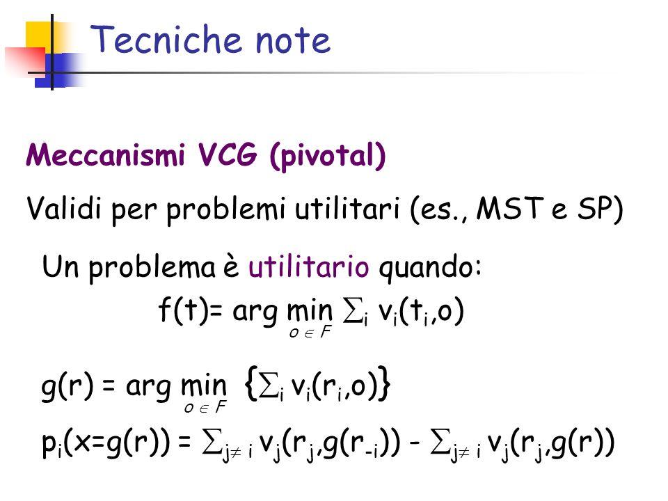 Tecniche note Un problema è utilitario quando: f(t)= arg min i v i (t i,o) Meccanismi VCG (pivotal) Validi per problemi utilitari (es., MST e SP) g(r)