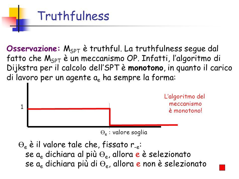 Truthfulness Osservazione: M SPT è truthful. La truthfulness segue dal fatto che M SPT è un meccanismo OP. Infatti, lalgoritmo di Dijkstra per il calc