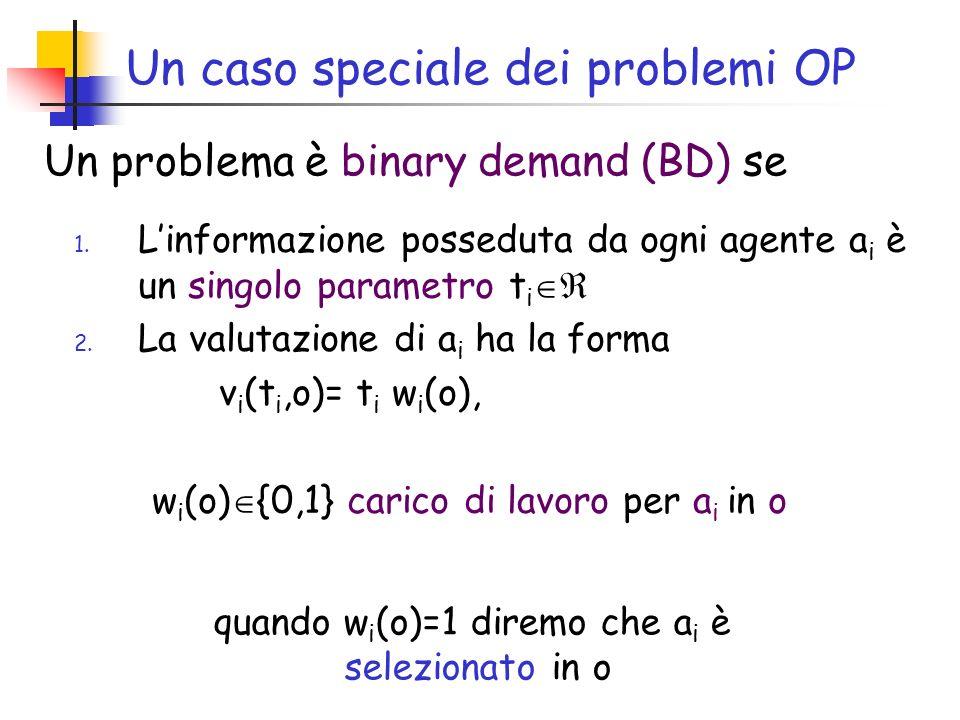 Un problema è binary demand (BD) se 1. Linformazione posseduta da ogni agente a i è un singolo parametro t i 2. La valutazione di a i ha la forma v i