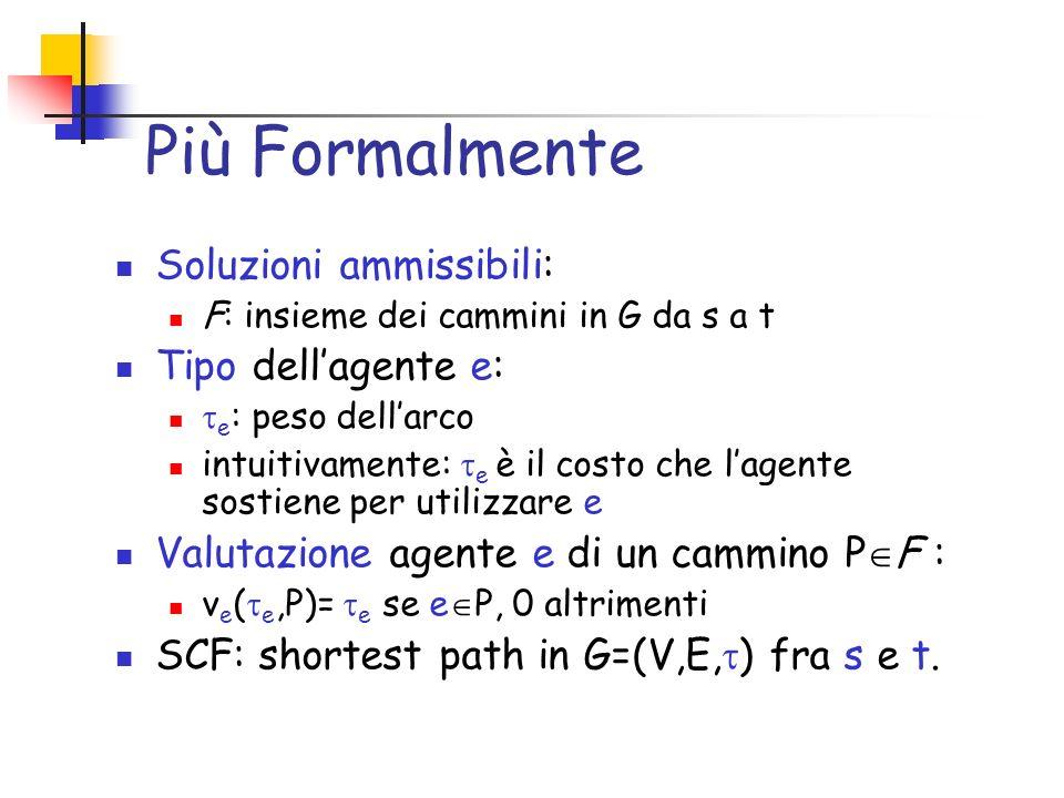 Tecniche note Un problema è utilitario quando: f(t)= arg min i v i (t i,o) Meccanismi VCG (pivotal) Validi per problemi utilitari (es., MST e SP) g(r) = arg min { i v i (r i,o) } p i (x=g(r)) = j i v j (r j,g(r -i )) - j i v j (r j,g(r)) o F