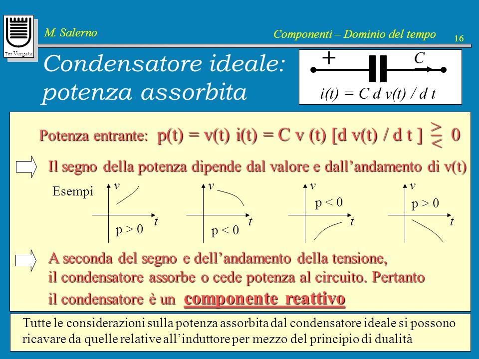 Tor Vergata M. Salerno Componenti – Dominio del tempo 16 Potenza entrante: p(t) = v(t) i(t) = C v (t) [d v(t) / d t ] 0 > < Condensatore ideale: poten