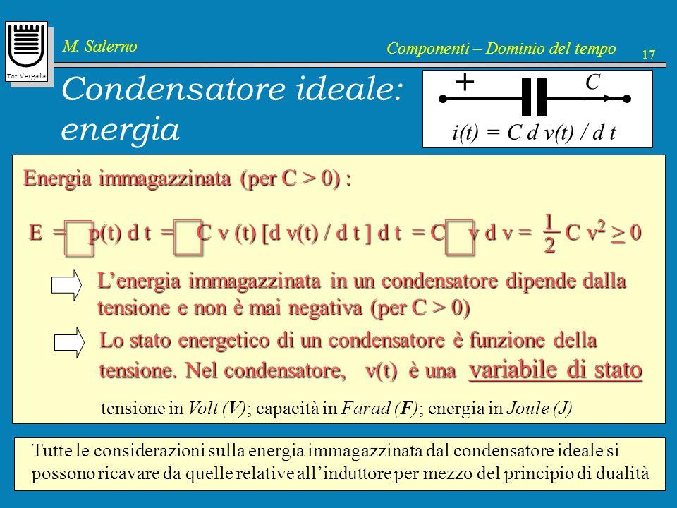 Tor Vergata M. Salerno Componenti – Dominio del tempo 17 Energia immagazzinata (per C > 0) : E = p(t) d t = C v (t) [d v(t) / d t ] d t = C v d v = C