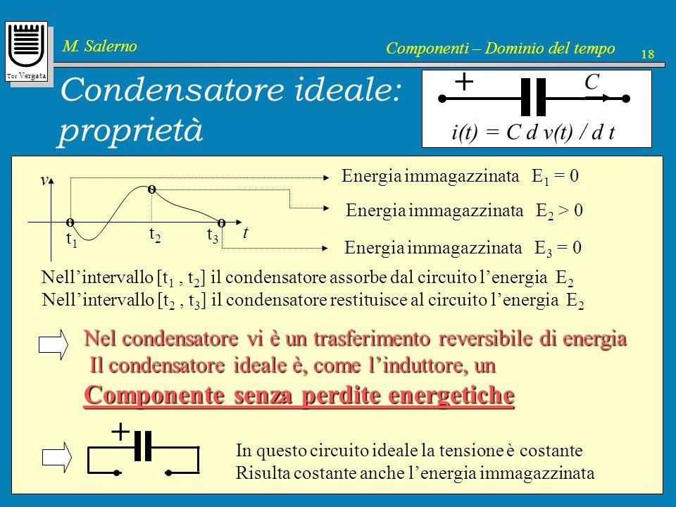 Tor Vergata M. Salerno Componenti – Dominio del tempo 18 Condensatore ideale: proprietà i(t) = C d v(t) / d t C + v t o Energia immagazzinata E 3 = 0