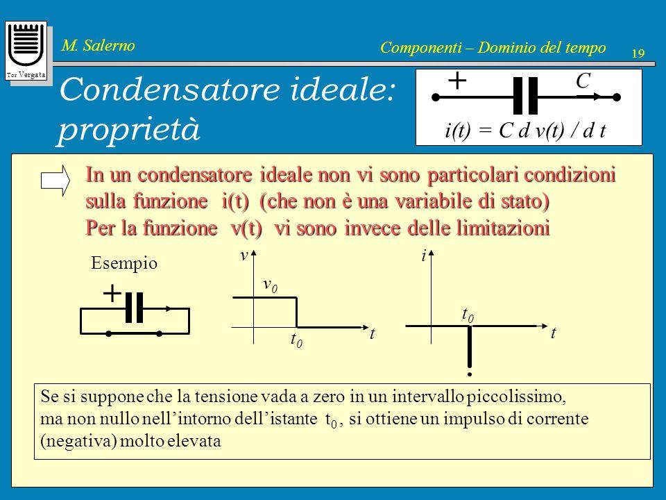 Tor Vergata M. Salerno Componenti – Dominio del tempo 19 Condensatore ideale: proprietà i(t) = C d v(t) / d t C + In un condensatore ideale non vi son