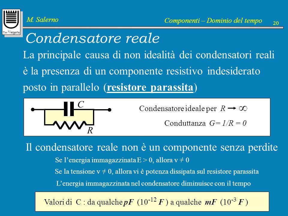 Tor Vergata M. Salerno Componenti – Dominio del tempo 20 Condensatore reale La principale causa di non idealità dei condensatori reali è la presenza d