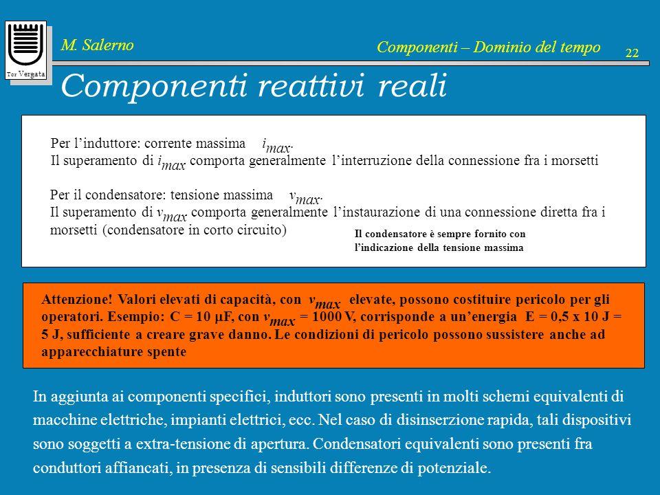 Tor Vergata M. Salerno Componenti – Dominio del tempo 22 Componenti reattivi reali Per linduttore: corrente massima i max. Il superamento di i max com