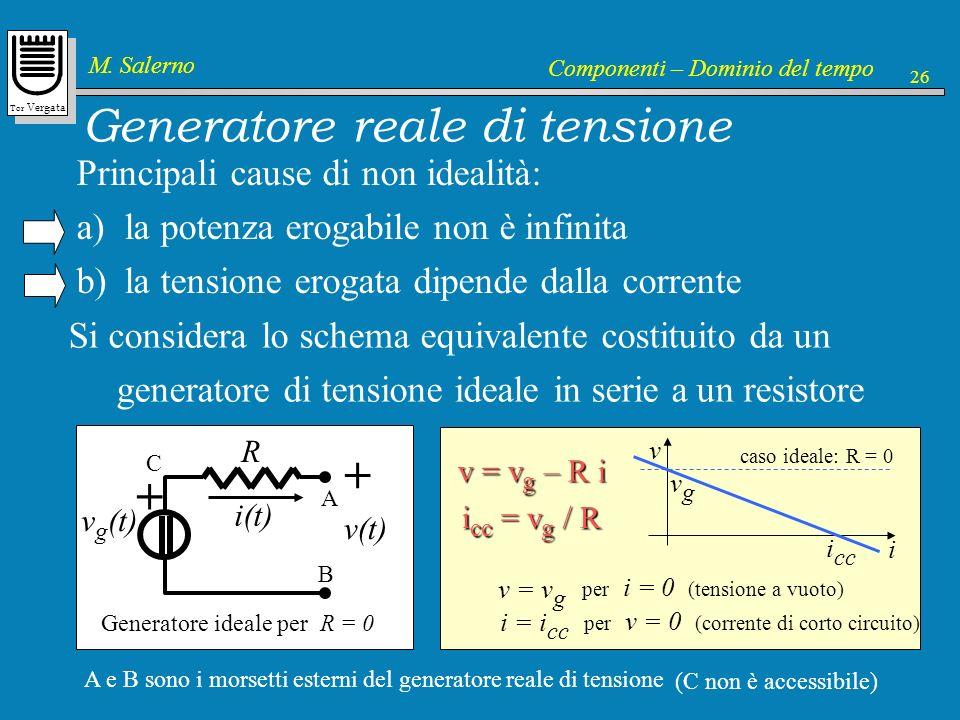 Tor Vergata M. Salerno Componenti – Dominio del tempo 26 v g (t) + R R : resistenza interna Generatore reale di tensione Principali cause di non ideal