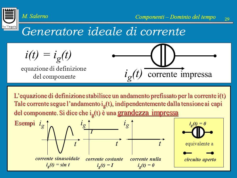 Tor Vergata M. Salerno Componenti – Dominio del tempo 29 Generatore ideale di corrente i(t) = i g (t) equazione di definizione del componente Lequazio