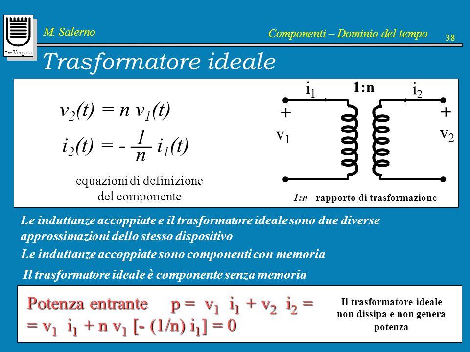 Tor Vergata M. Salerno Componenti – Dominio del tempo 38 Trasformatore ideale v1v1 + v2v2 + i1i1 i2i2 1:n rapporto di trasformazione 1:n Le induttanze