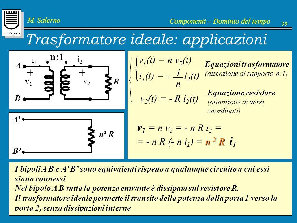 Tor Vergata M. Salerno Componenti – Dominio del tempo 39 Trasformatore ideale: applicazioni v1v1 + i1i1 n:1 v2v2 + i2i2 v 1 (t) = n v 2 (t) i 1 (t) =