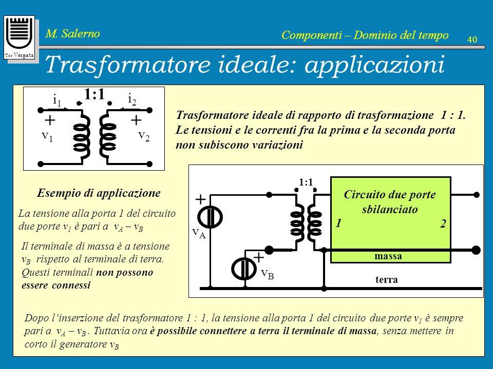 Tor Vergata M. Salerno Componenti – Dominio del tempo 40 1:1 i2i2 i1i1 v2v2 + v1v1 + Circuito due porte sbilanciato massa Trasformatore ideale: applic