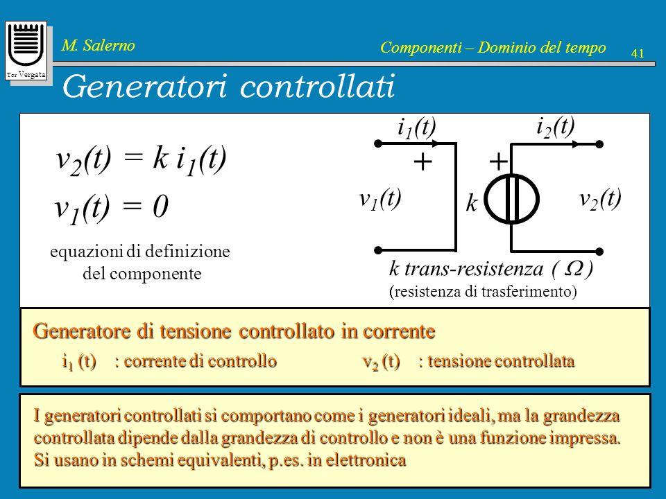 Tor Vergata M. Salerno Componenti – Dominio del tempo 41 Generatori controllati k guadagno in tensione k ++ v 2 (t) v 1 (t) i 2 (t) i 1 (t) v 2 (t) =