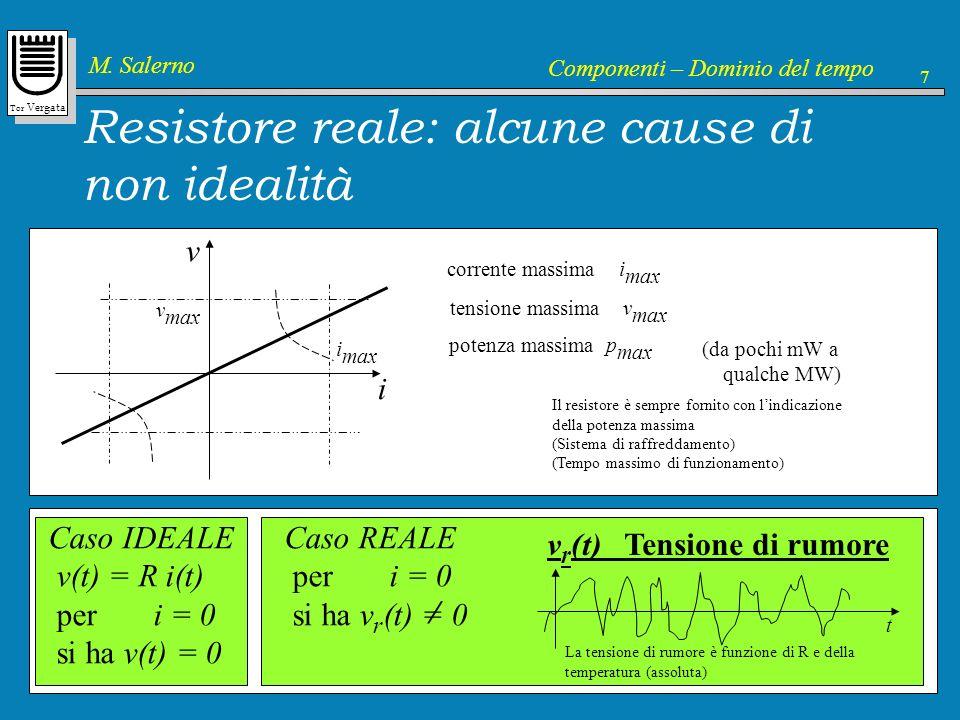 Tor Vergata M. Salerno Componenti – Dominio del tempo 7 Resistore reale: alcune cause di non idealità v i corrente massima i max i max tensione massim
