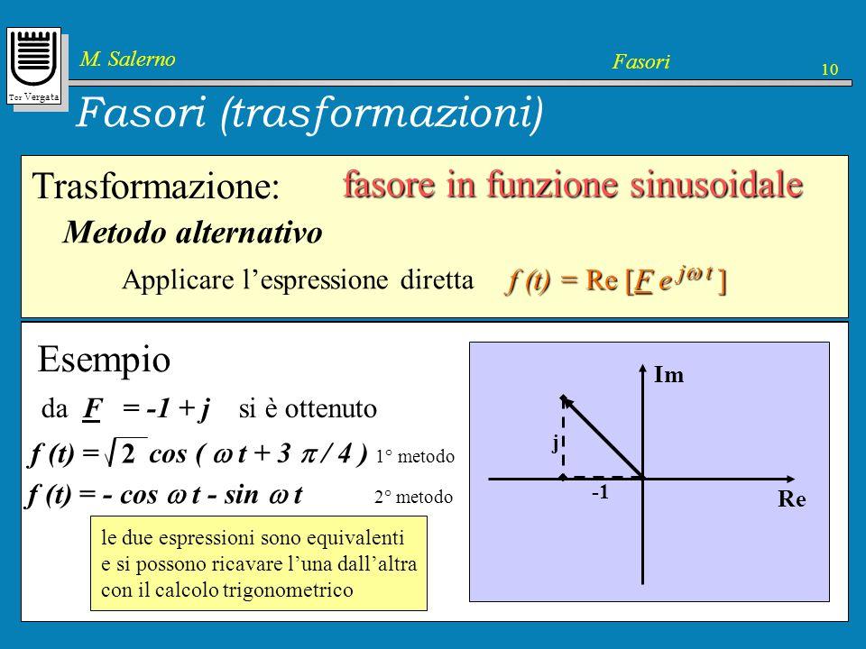 Tor Vergata M. Salerno Fasori 10 Fasori (trasformazioni) Trasformazione: fasore in funzione sinusoidale f(t) = F cos ( t + ) 2. Identificare la funzio
