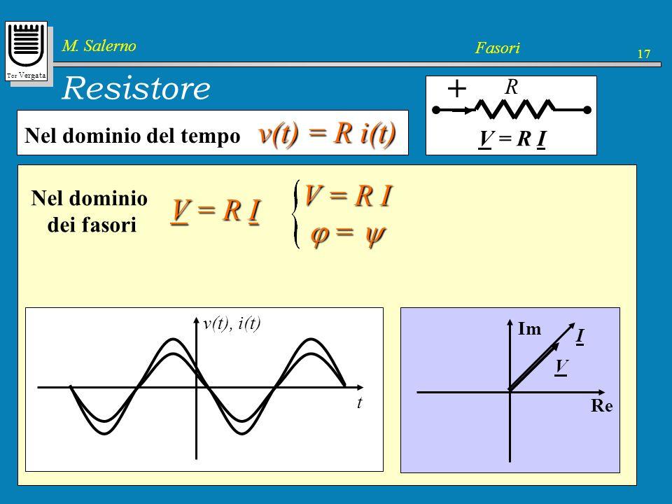 Tor Vergata M. Salerno Fasori 17 v(t) = R i(t) Resistore + R v(t) = R i(t) Nel dominio del tempo In regime permanente Re[ V e j t ] = R Re[ I e j t ]