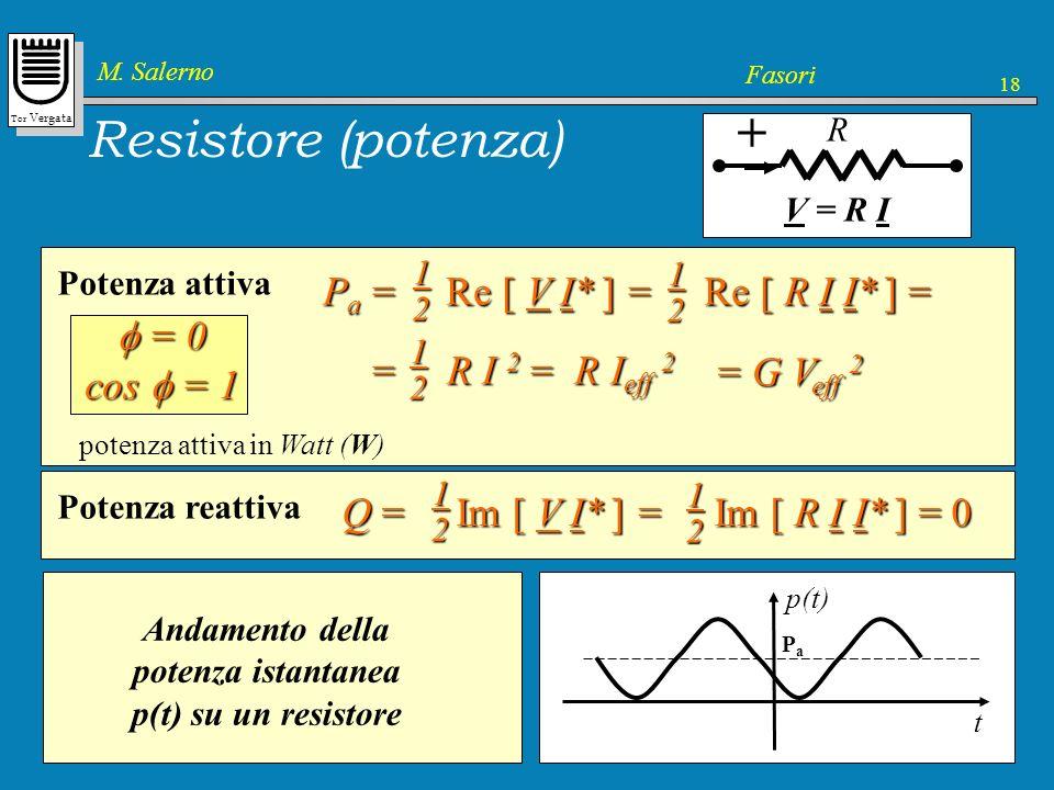 Tor Vergata M. Salerno Fasori 18 Resistore (potenza) + R V = R I Potenza attiva potenza attiva in Watt (W) 1 2 P a = Re [ V I* ] = Re [ R I I* ] = 12