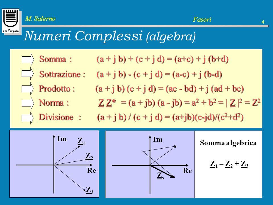 Tor Vergata M. Salerno Fasori 4 Numeri Complessi (algebra) Somma : (a + j b) + (c + j d) = (a+c) + j (b+d) Sottrazione : (a + j b) - (c + j d) = (a-c)