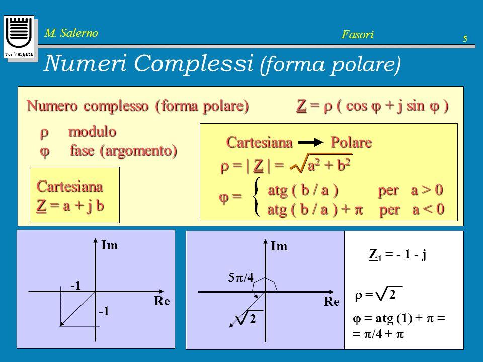 Tor Vergata M. Salerno Fasori 5 Numeri Complessi (forma polare) Numero complesso (forma polare) Z = ( cos + j sin ) Cartesiana Z = a + j b Cartesiana
