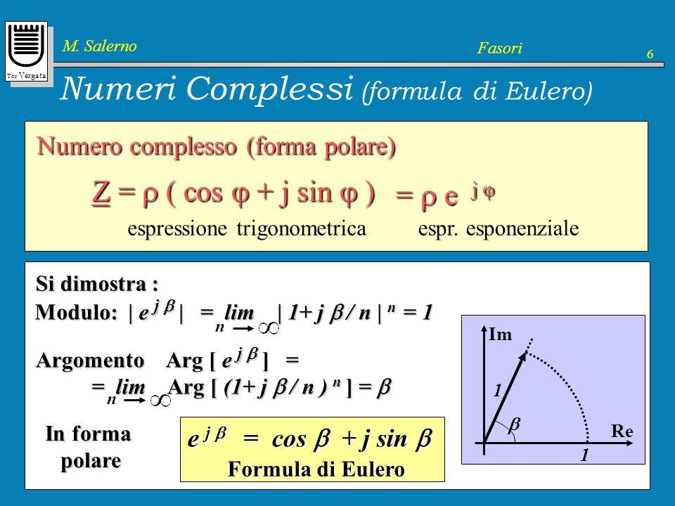 Tor Vergata M. Salerno Fasori 6 Numeri Complessi (formula di Eulero) Esponenziale Definizione dellespressione e j Definizione dellespressione e j Nel