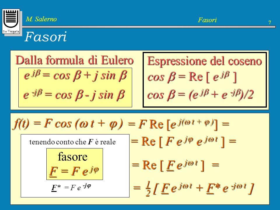 Tor Vergata M. Salerno Fasori 7 Dalla formula di Eulero e j = cos + j sin e j = cos + j sin e -j = cos - j sin e -j = cos - j sin cos = (e j + e -j )/