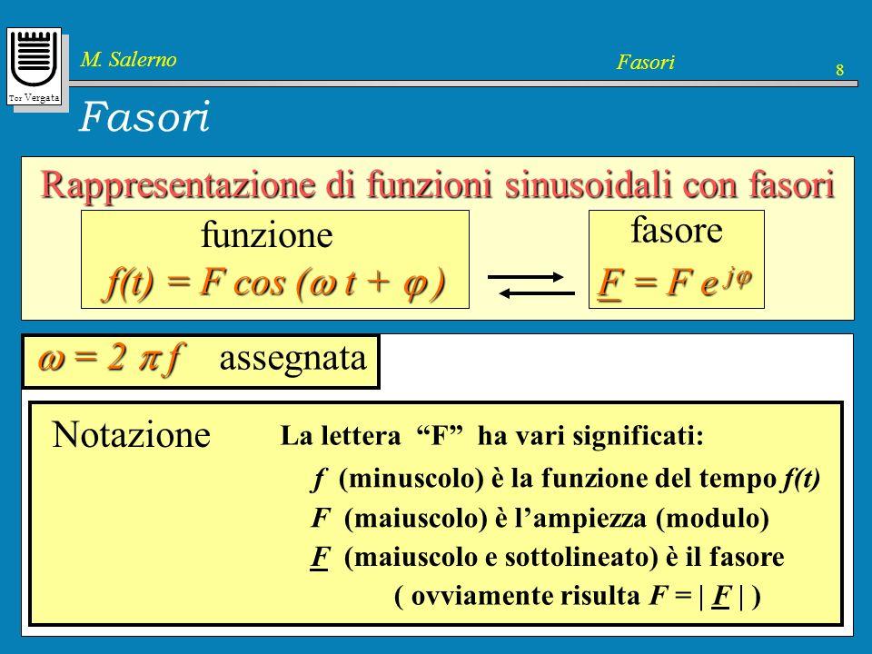 Tor Vergata M. Salerno Fasori 8 Rappresentazione di funzioni sinusoidali con fasori f(t) = F cos ( t + ) funzione F = F e j F = F e j fasore Lampiezza