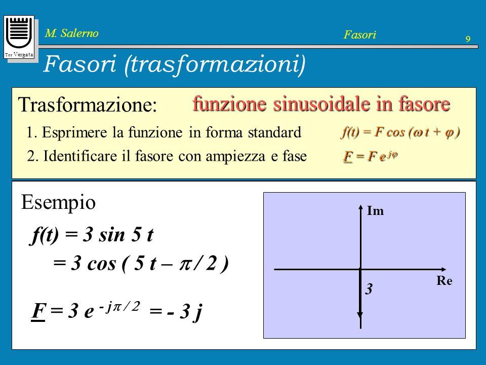 Tor Vergata M. Salerno Fasori 9 Trasformazione: Fasori (trasformazioni) funzione sinusoidale in fasore f(t) = F cos ( t + ) 1. Esprimere la funzione i
