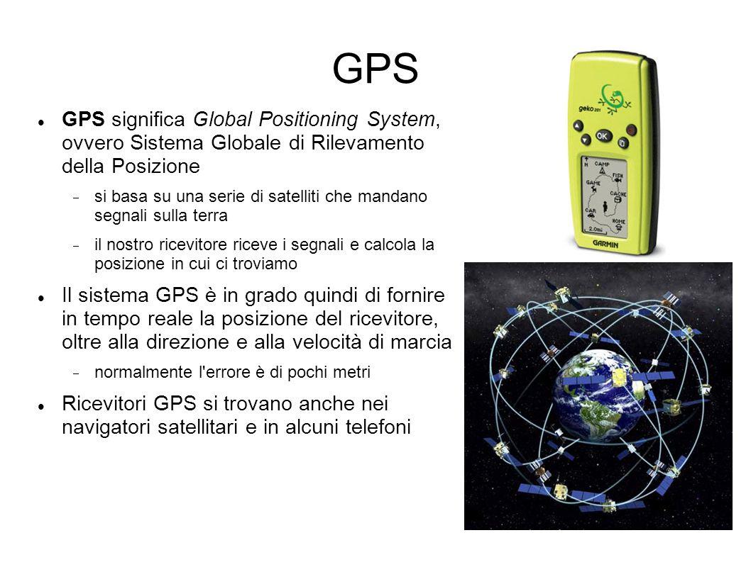 GPS GPS significa Global Positioning System, ovvero Sistema Globale di Rilevamento della Posizione si basa su una serie di satelliti che mandano segnali sulla terra il nostro ricevitore riceve i segnali e calcola la posizione in cui ci troviamo Il sistema GPS è in grado quindi di fornire in tempo reale la posizione del ricevitore, oltre alla direzione e alla velocità di marcia normalmente l errore è di pochi metri Ricevitori GPS si trovano anche nei navigatori satellitari e in alcuni telefoni