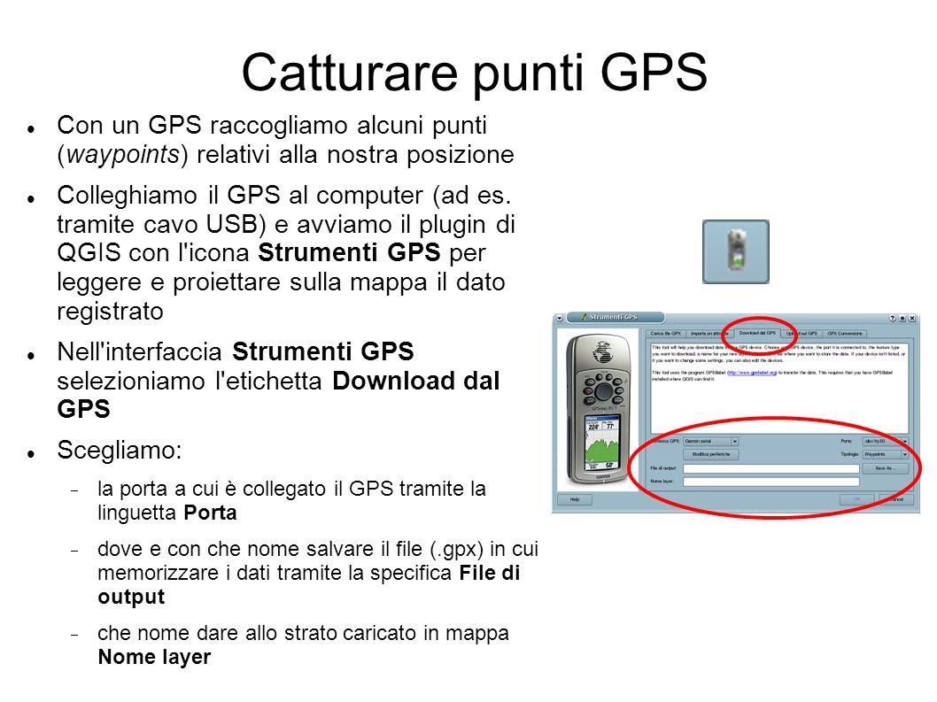 Catturare punti GPS Con un GPS raccogliamo alcuni punti (waypoints) relativi alla nostra posizione Colleghiamo il GPS al computer (ad es.