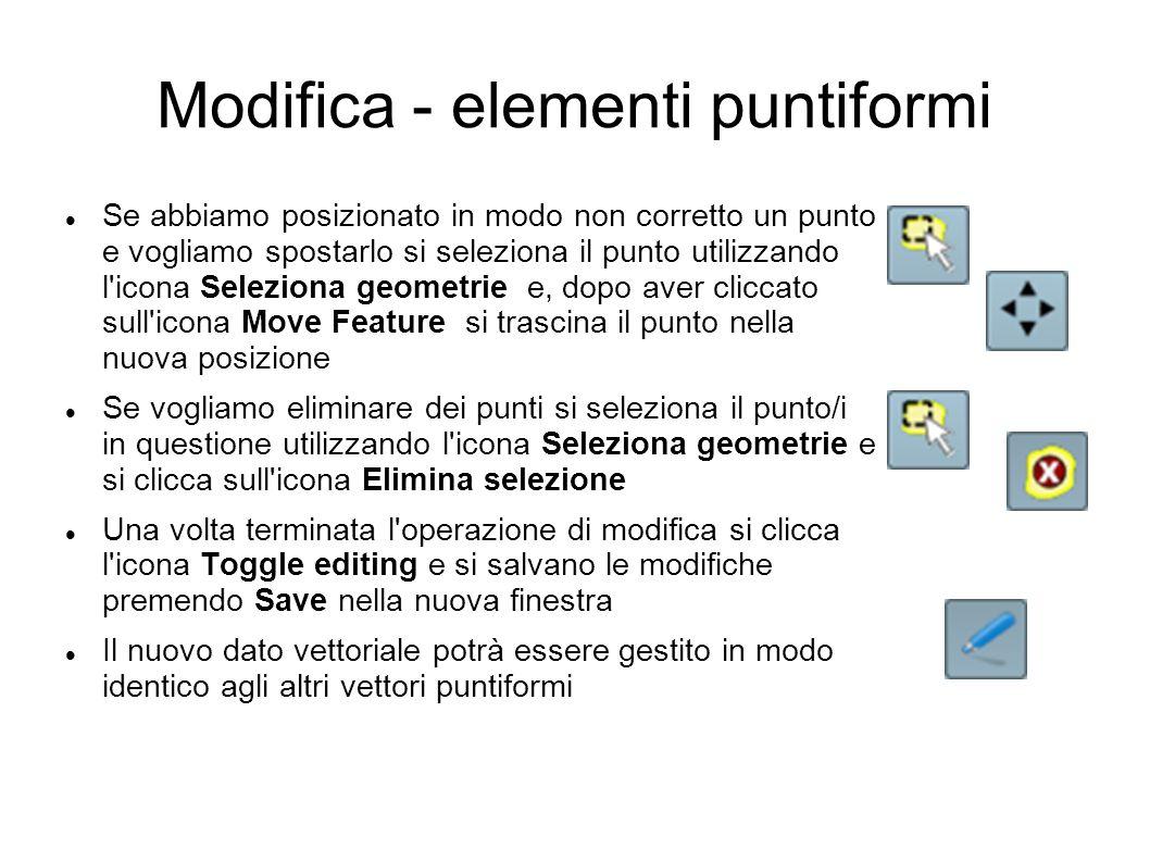 Modifica - elementi puntiformi Se abbiamo posizionato in modo non corretto un punto e vogliamo spostarlo si seleziona il punto utilizzando l icona Seleziona geometrie e, dopo aver cliccato sull icona Move Feature si trascina il punto nella nuova posizione Se vogliamo eliminare dei punti si seleziona il punto/i in questione utilizzando l icona Seleziona geometrie e si clicca sull icona Elimina selezione Una volta terminata l operazione di modifica si clicca l icona Toggle editing e si salvano le modifiche premendo Save nella nuova finestra Il nuovo dato vettoriale potrà essere gestito in modo identico agli altri vettori puntiformi
