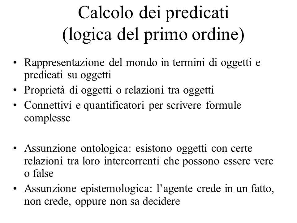 Calcolo dei predicati (logica del primo ordine) Rappresentazione del mondo in termini di oggetti e predicati su oggetti Proprietà di oggetti o relazio