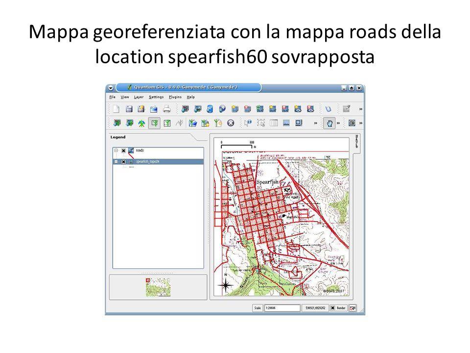Mappa georeferenziata con la mappa roads della location spearfish60 sovrapposta