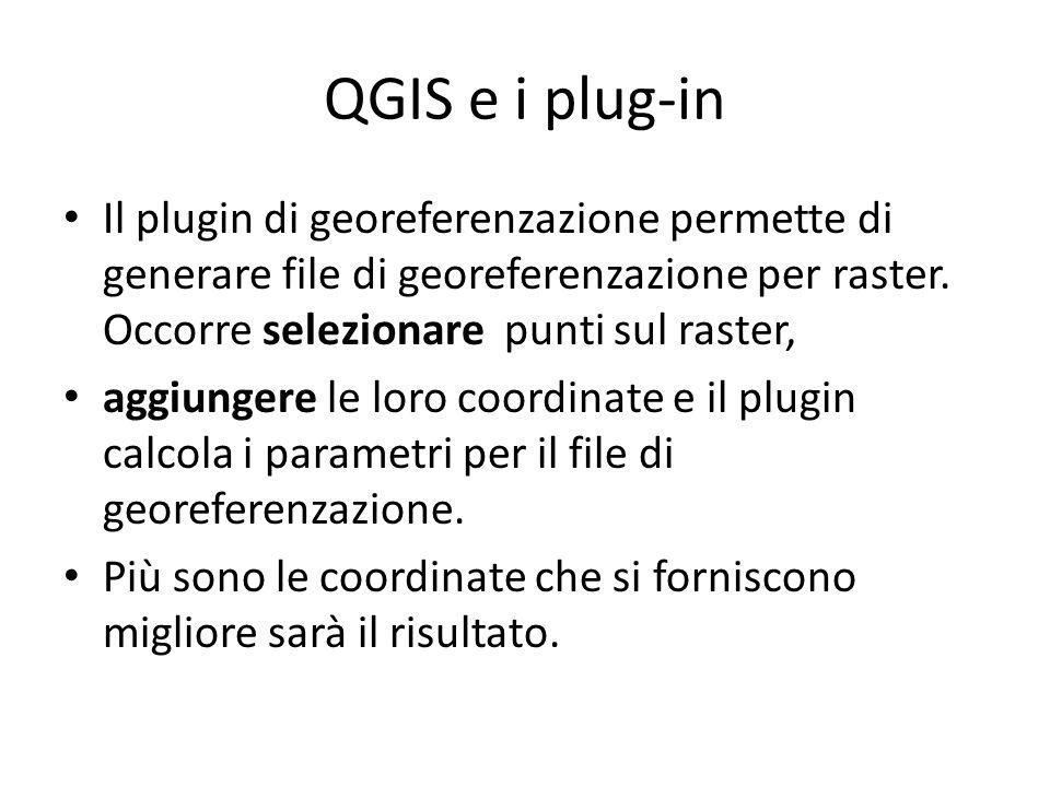 QGIS e i plug-in Il plugin di georeferenzazione permette di generare file di georeferenzazione per raster.