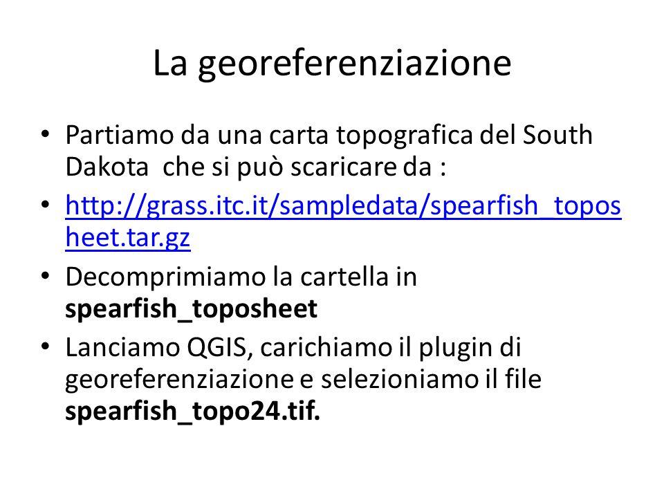 La georeferenziazione Partiamo da una carta topografica del South Dakota che si può scaricare da : http://grass.itc.it/sampledata/spearfish_topos heet.tar.gz http://grass.itc.it/sampledata/spearfish_topos heet.tar.gz Decomprimiamo la cartella in spearfish_toposheet Lanciamo QGIS, carichiamo il plugin di georeferenziazione e selezioniamo il file spearfish_topo24.tif.