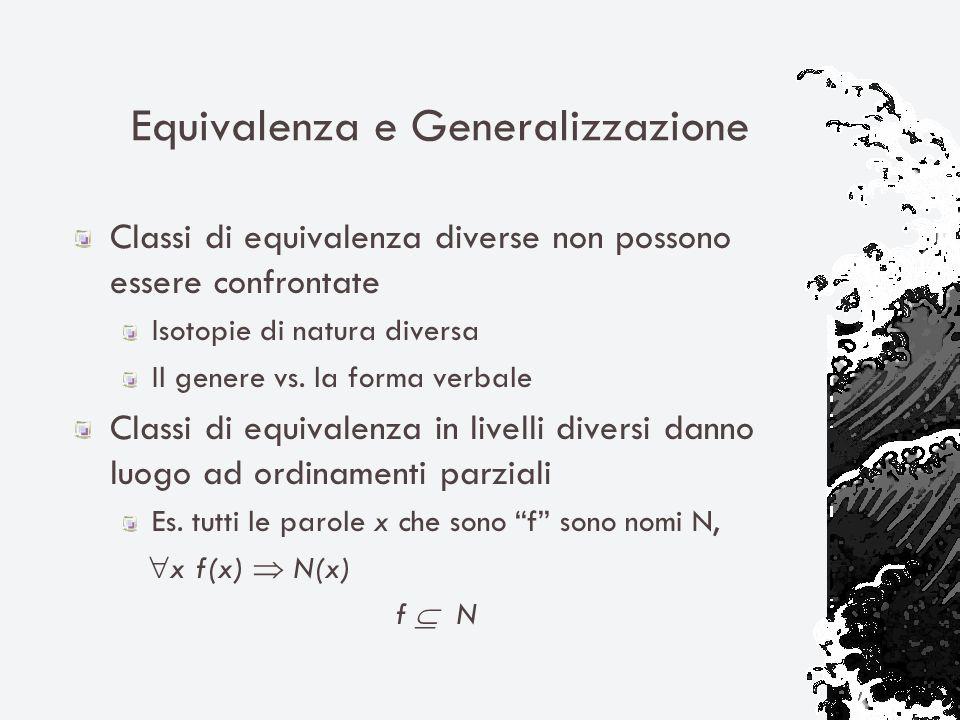 Equivalenza e Generalizzazione Classi di equivalenza diverse non possono essere confrontate Isotopie di natura diversa Il genere vs. la forma verbale