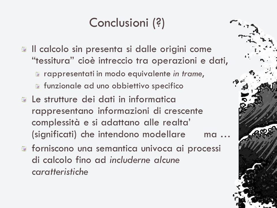 Conclusioni (?) Il calcolo sin presenta si dalle origini come tessitura cioè intreccio tra operazioni e dati, rappresentati in modo equivalente in tra