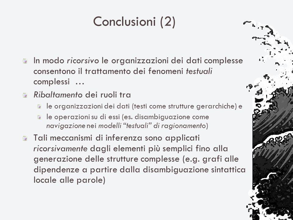 Conclusioni (2) In modo ricorsivo le organizzazioni dei dati complesse consentono il trattamento dei fenomeni testuali complessi … Ribaltamento dei ru