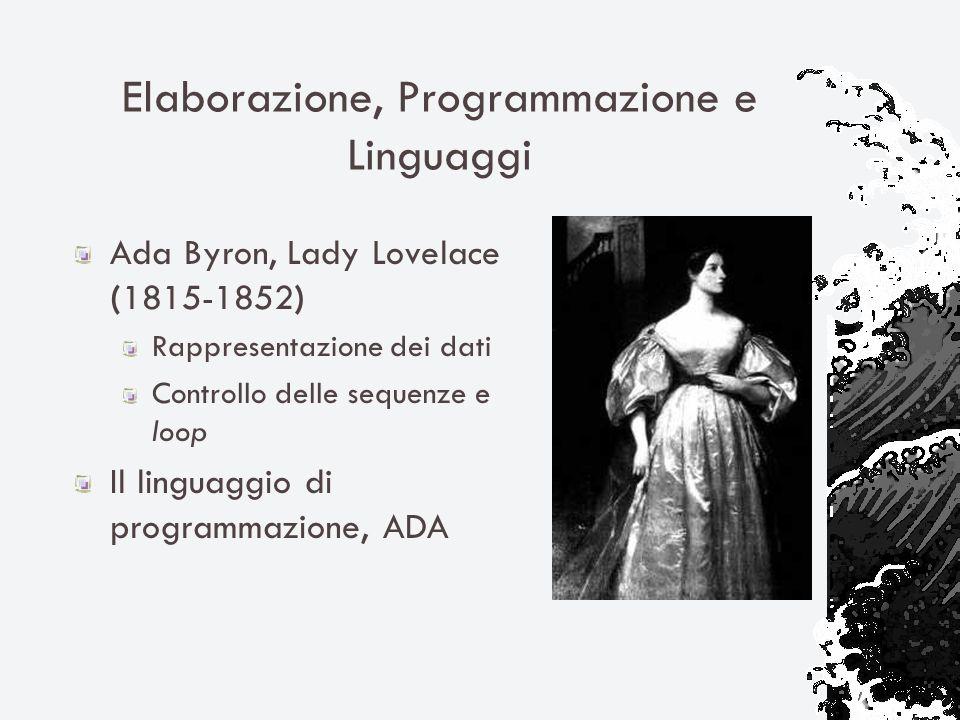 Elaborazione, Programmazione e Linguaggi Ada Byron, Lady Lovelace (1815-1852) Rappresentazione dei dati Controllo delle sequenze e loop Il linguaggio