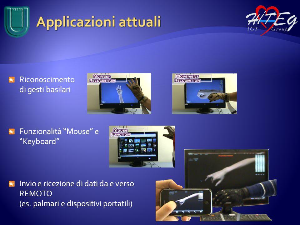 Riconoscimento di gesti basilari Funzionalità Mouse e Keyboard Invio e ricezione di dati da e verso REMOTO (es. palmari e dispositivi portatili)