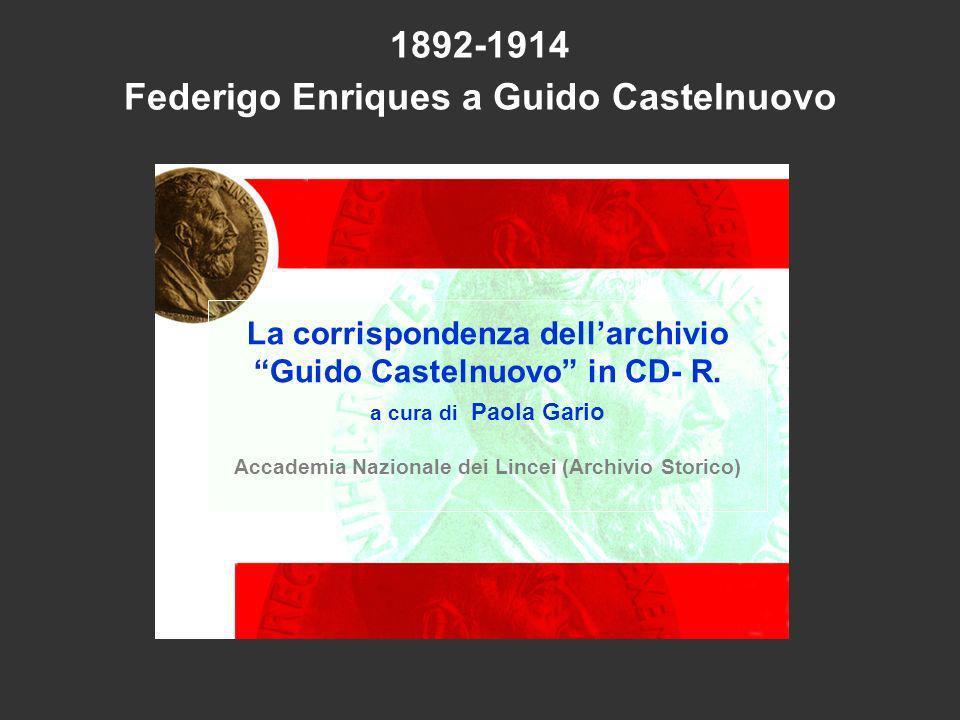 1892-1914 Federigo Enriques a Guido Castelnuovo La corrispondenza dellarchivio Guido Castelnuovo in CD- R. a cura di Paola Gario Accademia Nazionale d