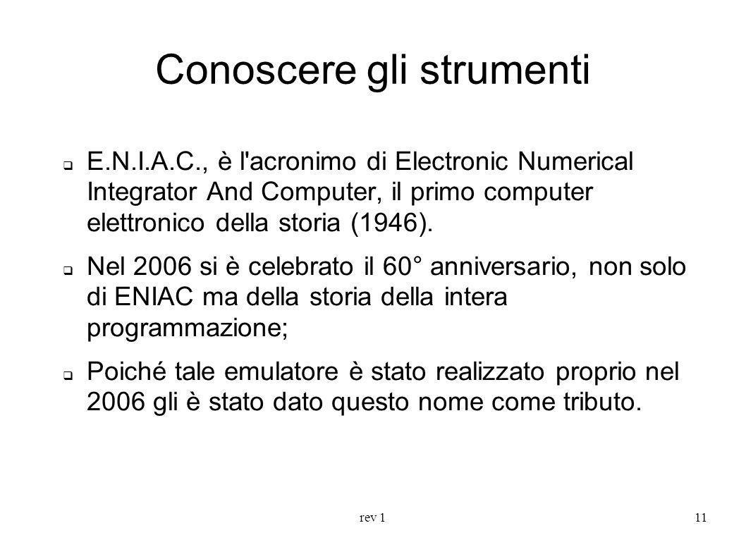 rev 111 E.N.I.A.C., è l'acronimo di Electronic Numerical Integrator And Computer, il primo computer elettronico della storia (1946). Nel 2006 si è cel