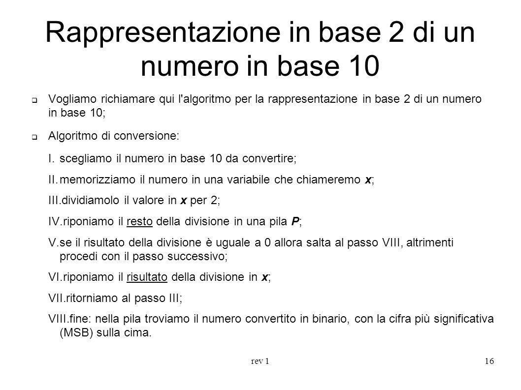 rev 116 Rappresentazione in base 2 di un numero in base 10 Vogliamo richiamare qui l'algoritmo per la rappresentazione in base 2 di un numero in base