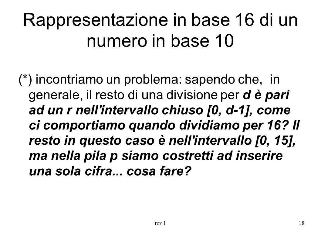 rev 118 Rappresentazione in base 16 di un numero in base 10 (*) incontriamo un problema: sapendo che, in generale, il resto di una divisione per d è p