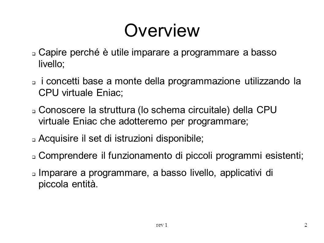 rev 12 Overview Capire perché è utile imparare a programmare a basso livello; i concetti base a monte della programmazione utilizzando la CPU virtuale