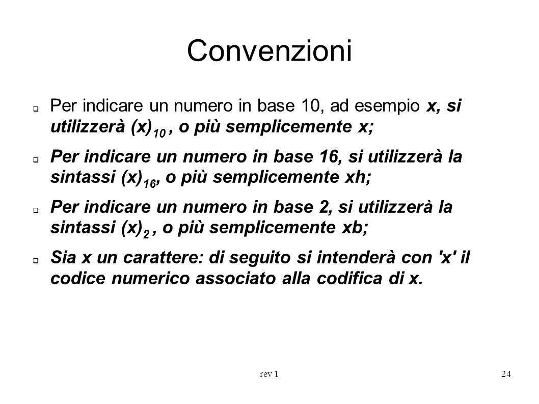 rev 124 Convenzioni Per indicare un numero in base 10, ad esempio x, si utilizzerà (x) 10, o più semplicemente x; Per indicare un numero in base 16, s