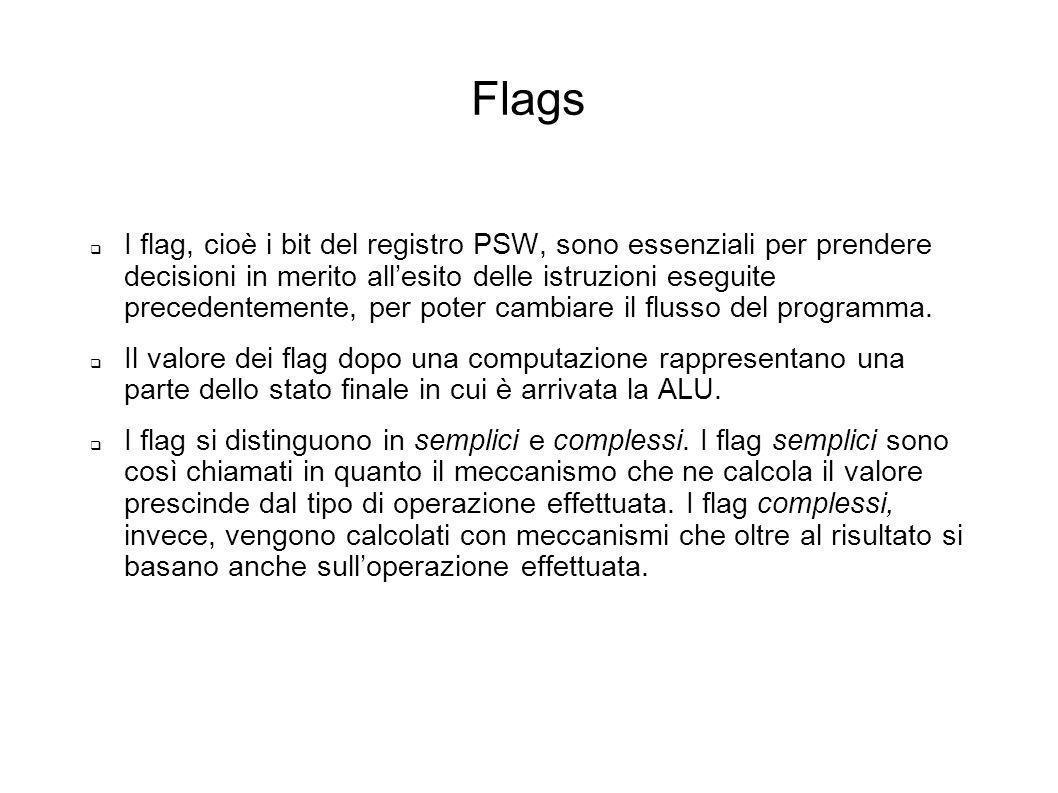 Flags I flag, cioè i bit del registro PSW, sono essenziali per prendere decisioni in merito allesito delle istruzioni eseguite precedentemente, per po