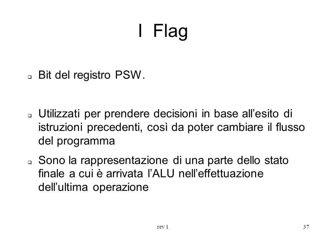 rev 137 I Flag Bit del registro PSW. Utilizzati per prendere decisioni in base allesito di istruzioni precedenti, così da poter cambiare il flusso del