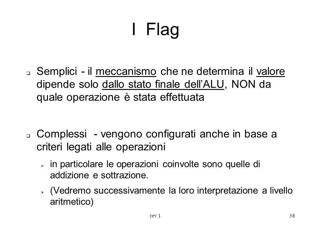 rev 138 I Flag Semplici - il meccanismo che ne determina il valore dipende solo dallo stato finale dellALU, NON da quale operazione è stata effettuata